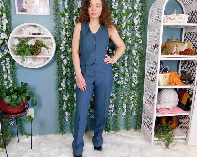 60's 70's Bobbie Brooks Polyester Pant Suit / Vintage 2pc. Pant & Vest Set..Slate Blue