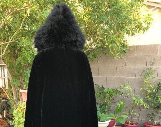 Vintage Black Velvet Cape with Feathered Hood / 80s 90s Maxi Cloak Velvet and Feathers