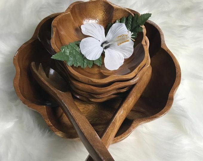 70s Wood Salad Bowl Serving Set / Vintage Monkey Pod Wood Bowls with Serving Utensils