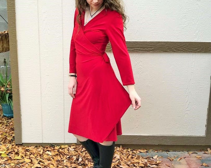 90s Wrap Dress by Ronnie Nicole / Vintage Red Long Sleeved Knee Length Wrap Dress