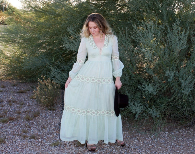70's Gunne Sax Seafoam Green Prairie Dress, Poet Puff Sleeves