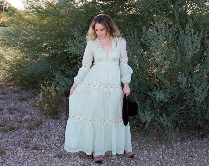 70's Gunne Sax Seafoam Green Prairie Dress, Poet Puff Sleeves