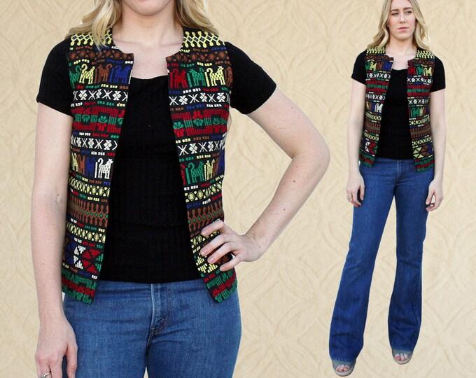 Vintage Guatemalan Textile Vest, Women's size S/M Vest