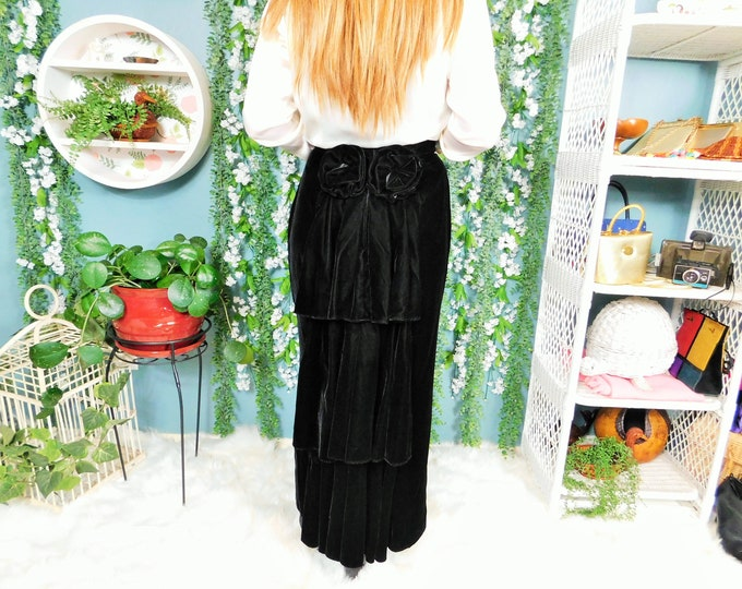 80s Scott McClintock Black Velvet Maxi Skirt / Vintage Victorian Style Floor Length Skirt