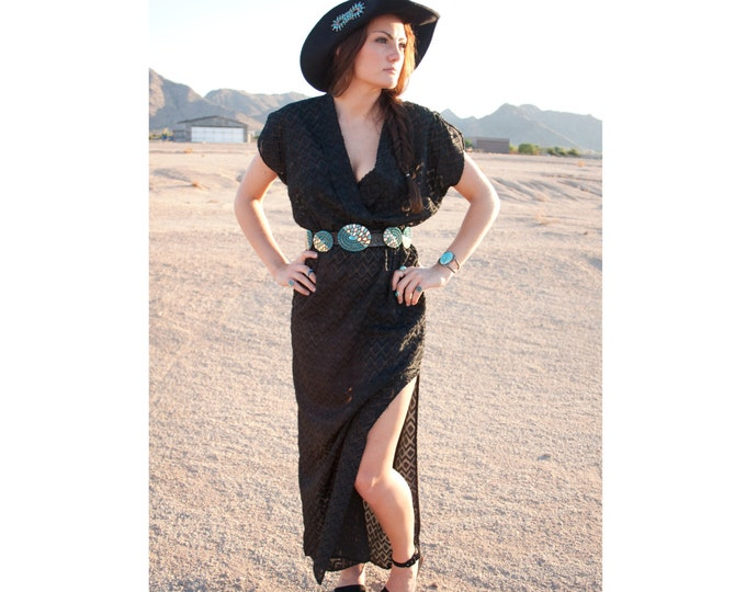SALE>> 70's Sheer Black Maxi Dress