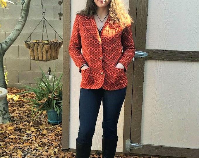70s  Italian Styled Blazer by Castello d'Elmo / Vintage Orange Polyester Jacket