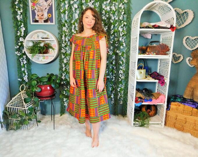 80s Colorful Print A Line Tent Dress / Vintage Handmade Dress
