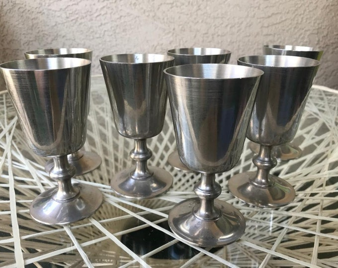 70s Pewter Goblets by Woodbury Pewterers / Vintage Wine Goblets 7 piece