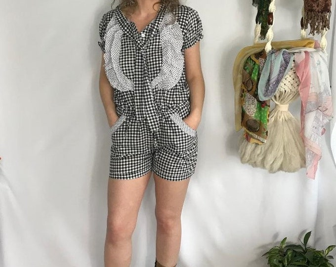 80s Gingham Shorts Jumper / Vintage Black and White Shorts One Piece