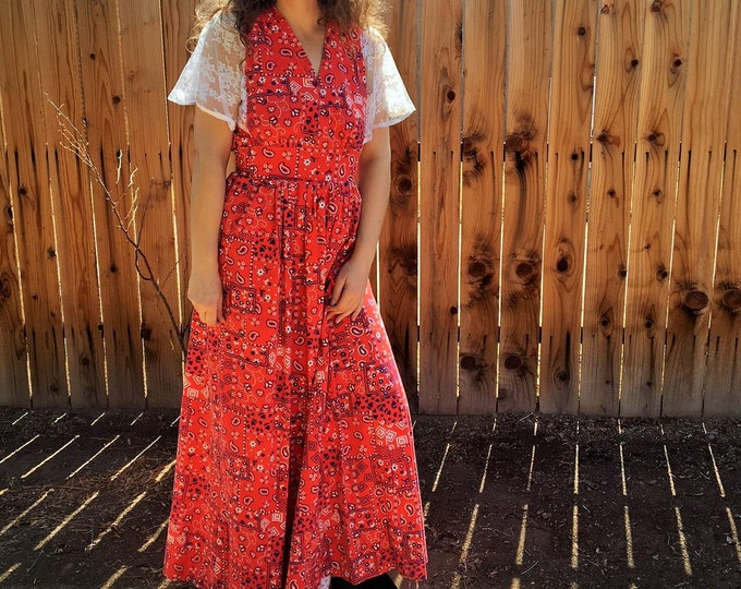 70s Red Bandana Maxi Dress / Paisley print  Vintage Dress