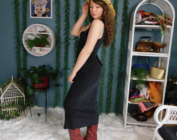 90s Rampage Long Button Front Black with Metallic Thread / Vintage Form Fitting Black Dress