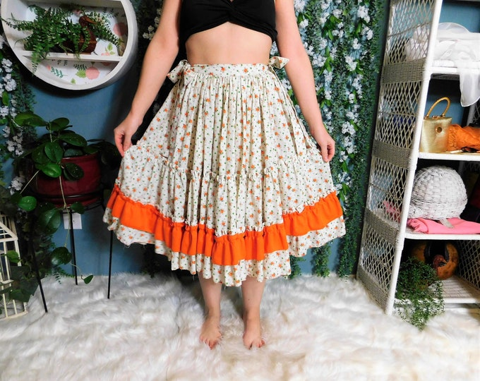 80's Prairie .. Square Dance Full Circle Mid Length Skirt White with Orange Floral Print
