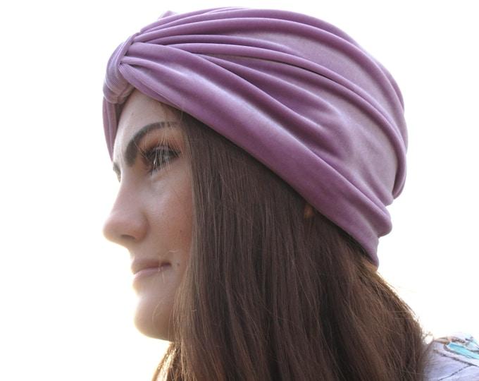 Stretch Velvet Turban, Purple