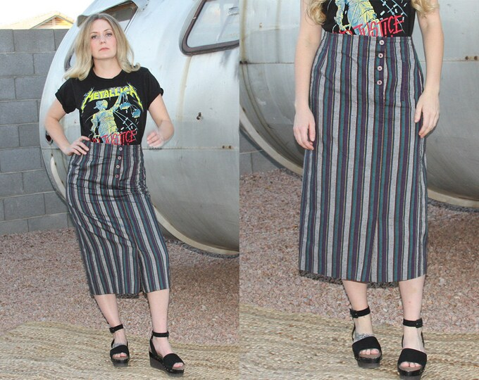 80's Striped Beetle Juice Pencil Skirt, with Pockets, Union made