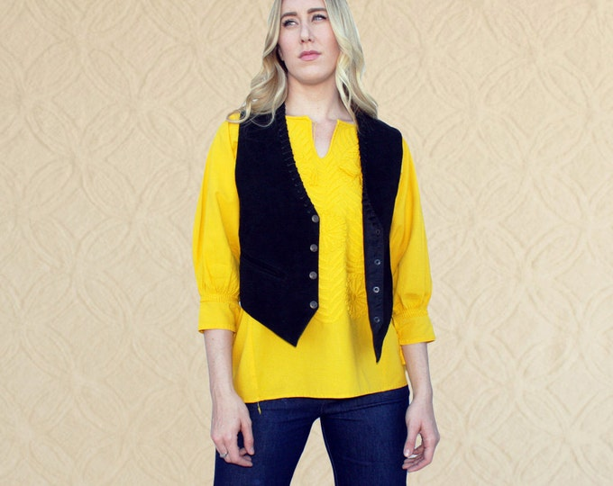 90's Black Suede Vest, Women's size M/L, Men's S