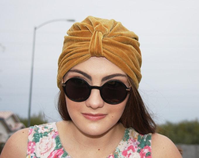 Stretch Velvet Turban, Gold
