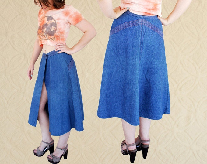 SALE>> 70's Denim Midi Wrap Skirt with Front Slit