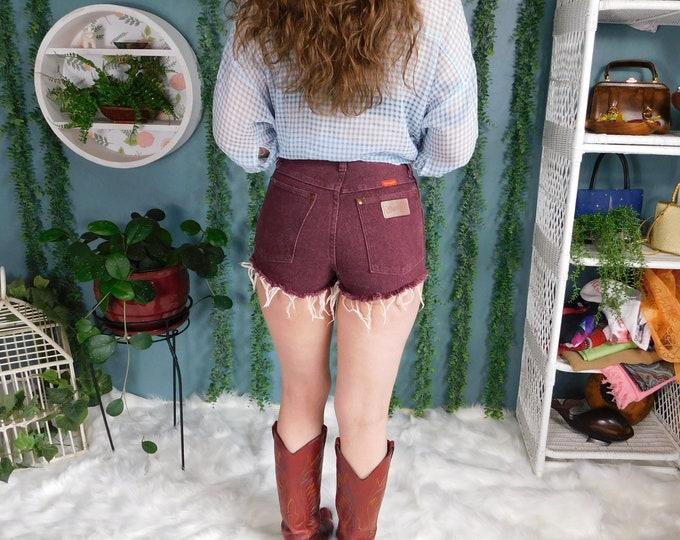 80s Wrangler Denim Cut-Off Shorts / Vintage Burgundy Jean Shorts