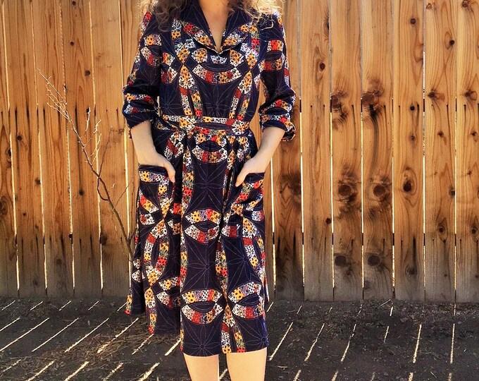 70s - 80s  Front Pocket, Mid length, Half Sleeve Dress / Vintage Quilt design pattern Dress