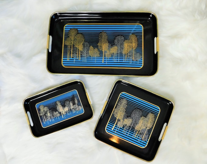 Vintage Black Lacquer Nesting Serving Trays  3 piece set Tree Design..Japan