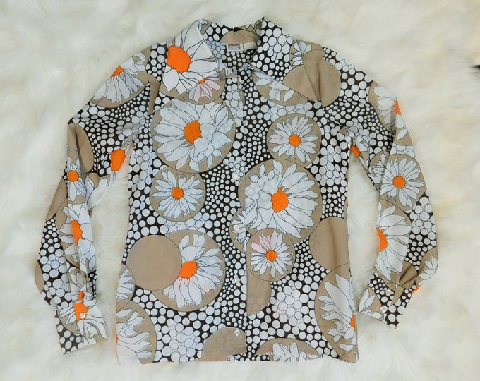 70s Montgomery Ward Long Sleeve Button Up Floral Shirt / Vintage Retro Blouse