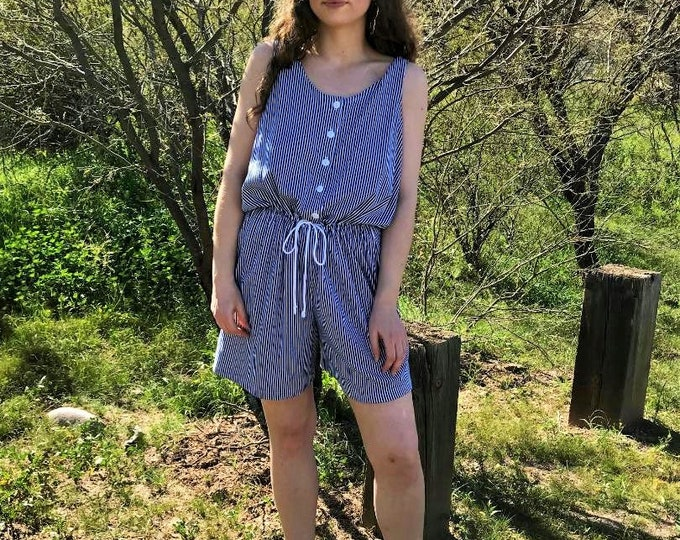 80s 90s Forenza Sportswear Shorts Jumper / Vintage Blue and White Striped Romper