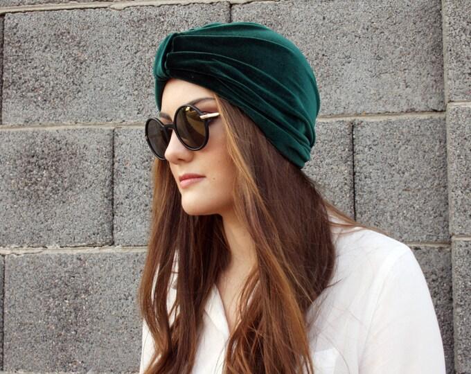 Stretch Velvet Turban, Forest Green