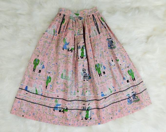 Vintage Novelty Print Skirt / 50s-60s Pink Print Full Skirt
