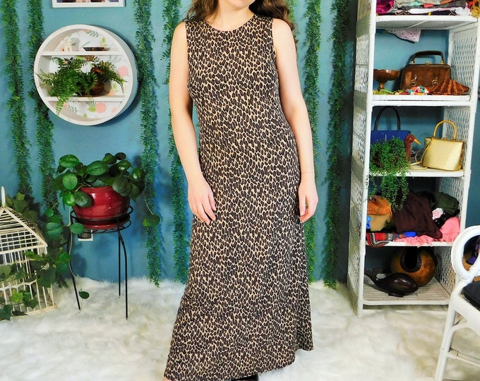 90s es.se Cheetah Print Dress / Vintage Maxi Sleeveless Animal Print Dress