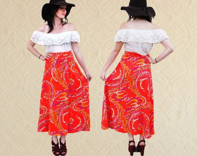 70's Psychedelic Maxi Wrap Skirt, Women's size XS/S/M