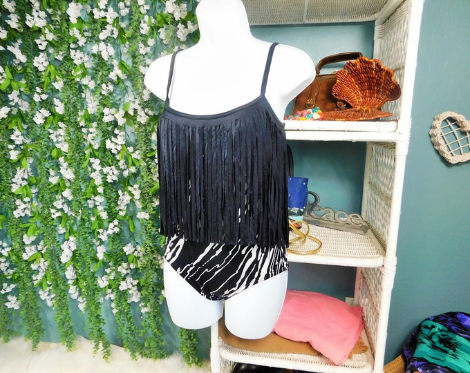 80s Robby Len Swimsuit / Vintage Zebra Print and Fringe One-Piece Bathing Suit