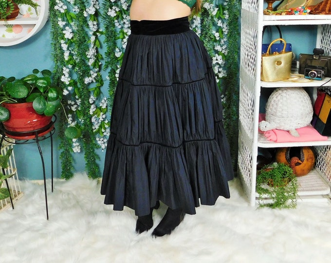 40s Tina Leser by Foreman Black Mid Length Tiered Skirt with Velvet Waistband and Trim