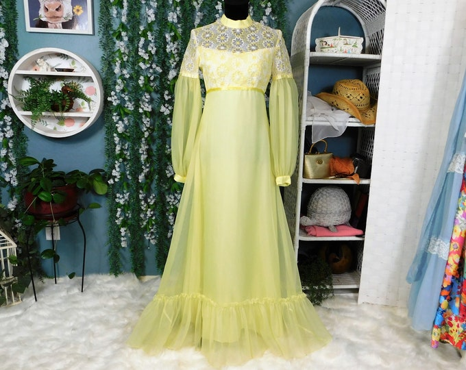 60's Yellow Full Length Sheer Overlay Dress / Vintage Maxi..Floral Embroidered Bodice Long Sleeve Dress by Sylvia Ann