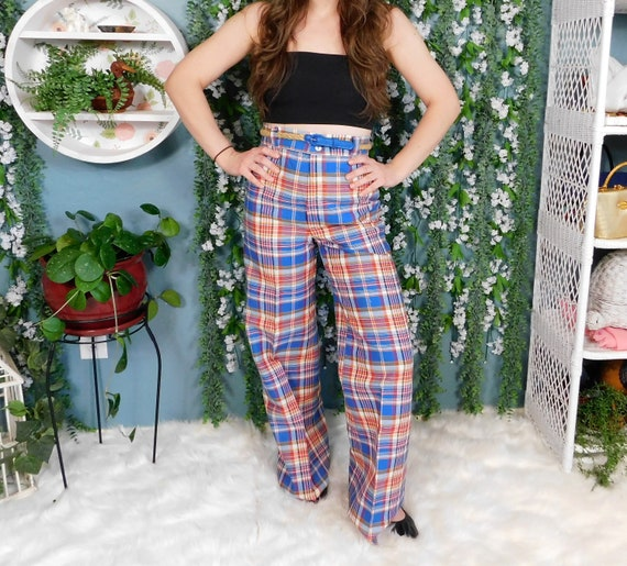 70's Time And Place Plaid Pants / Vintage Plaid Be