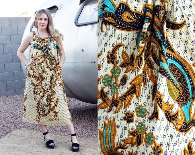 Vintage Hippie Folk Dress with Pockets, Women's S/M