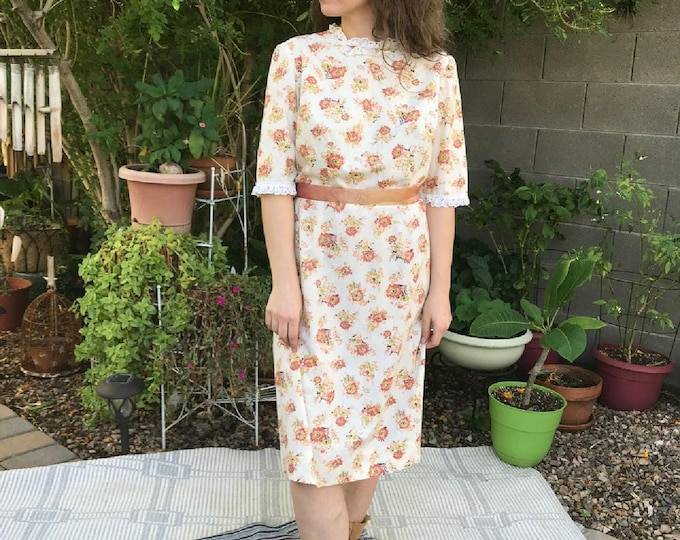 70s Floral Print Dress / Vintage Fall Colors Floral Dress