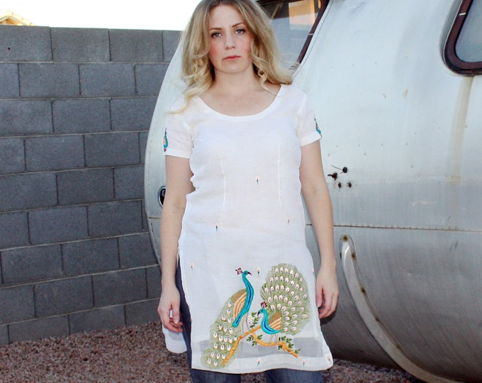 Embroidered Peacock Tunic
