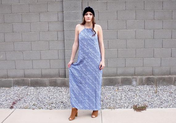90's Mod Rayon Maxi Dress