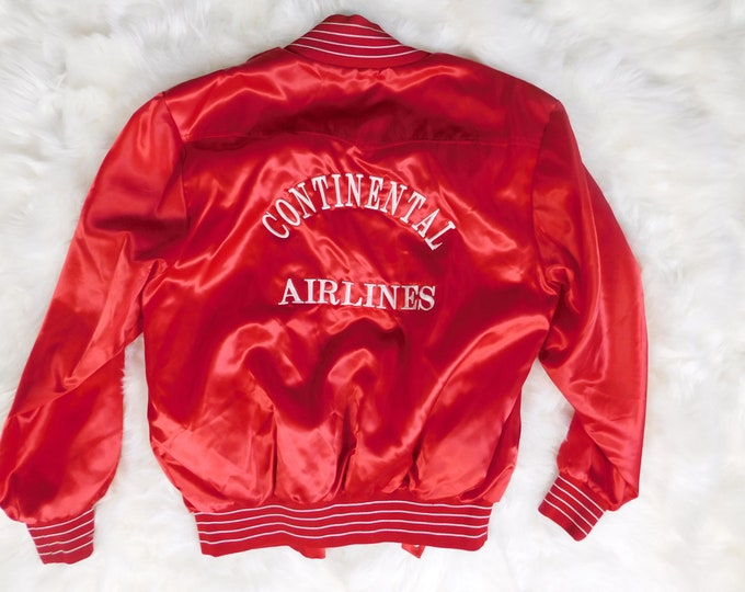 80s Red Satin Bomber Jacket / Vintage Continental Airlines coat