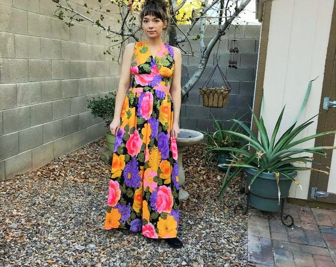 80s Floral Maxi Dress / Vintage Full Length Sheer Floral Multi Color with Metallic Thread detail Dress