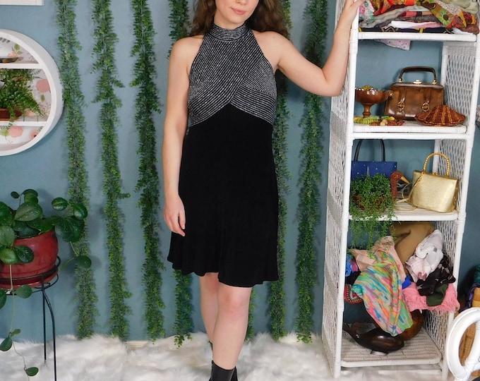 90s Tadashi Body Con Dress / Vintage Black with Silver Metallic Detailed Bodice Midi Dress