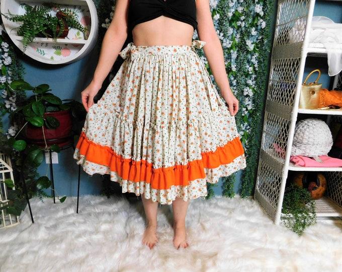 80's Prairie .. Square Dance Full Circle Mid Length Skirt White with Orange Floral Print