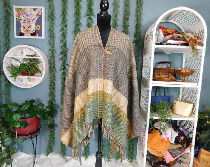 60s 70s Wool Fringed Poncho by Hudson's