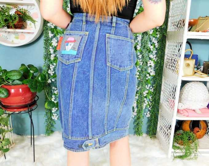 80s NeoMax Denim Pencil Skirt / Vintage Jean Skirt / Hand Painted Pocket Applique by Peter Max