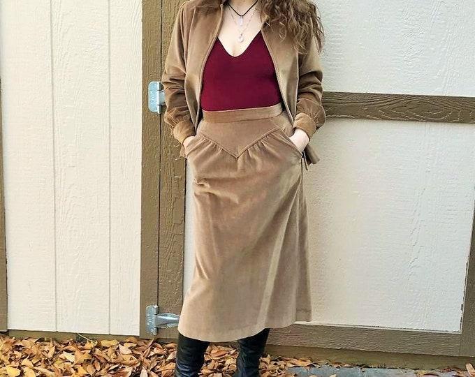 70s Velvet Two Piece Skirt and Jacket Set by Patty Woodard / Vintage Skirt Suit Velvet