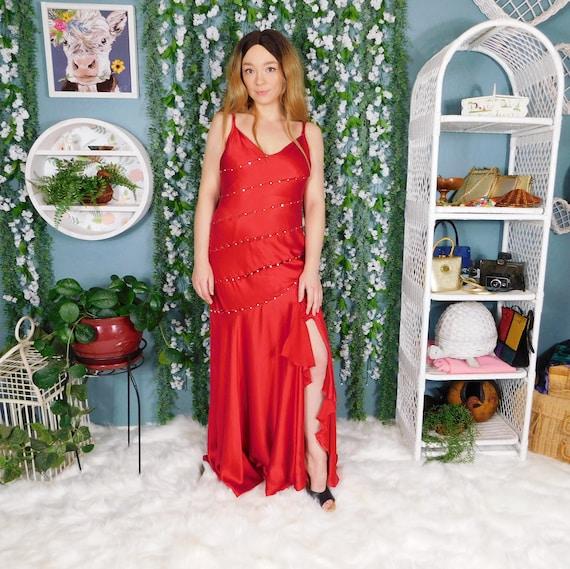 90s Jovani Red Silk Dress / Vintage Sleeveless Max