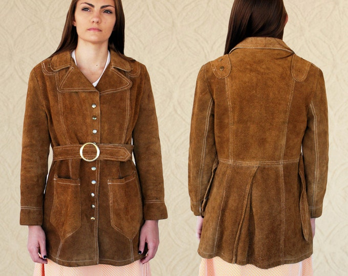 70's Suede Utility Trench with Belt
