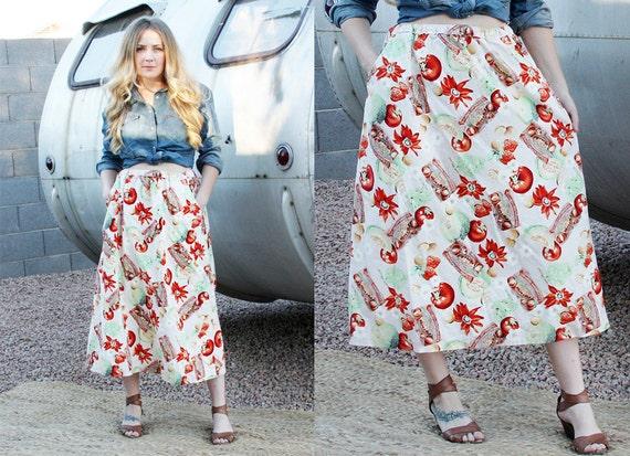 Vintage Fruit Print Novelty Skirt with Pockets