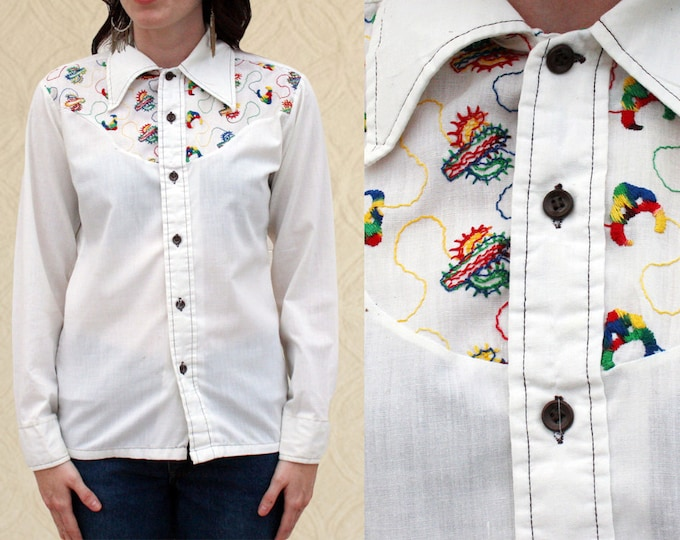 70's Cactus Embroidered Button Up, Women's size XS/S