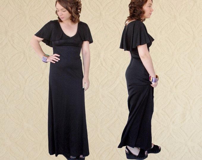 SALE>> 70's Maxi Prom Dress with Flutter Cape, Women's size XS/S